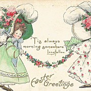 Easter Post Card Little Girls in Large Easter Bonnets