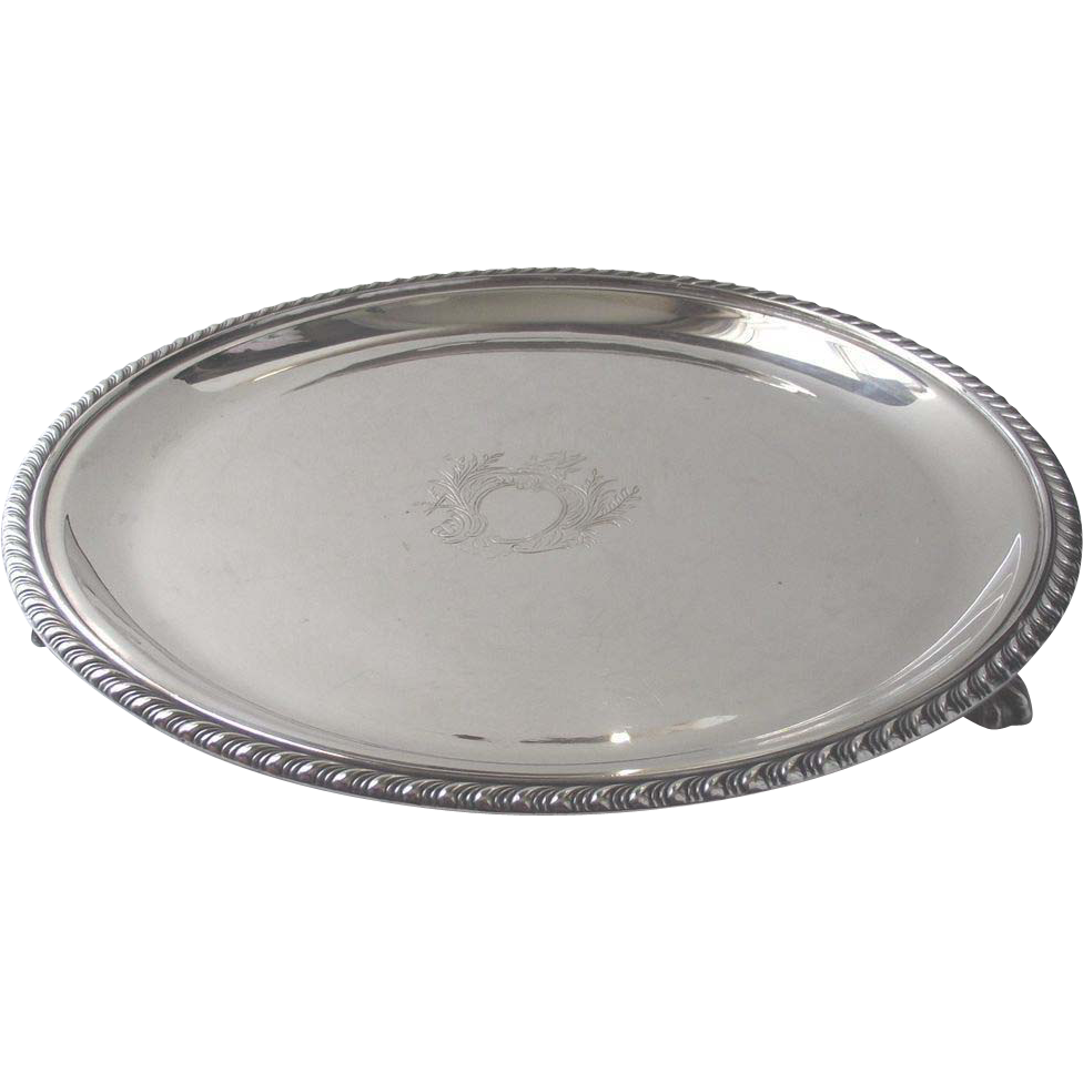 Silver Plate Footed Salver  English Silver over Copper Excellent Quality