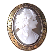 Carved Shell Cameo in Nicely Chased Gold Fill Frame Brooch - Pendant