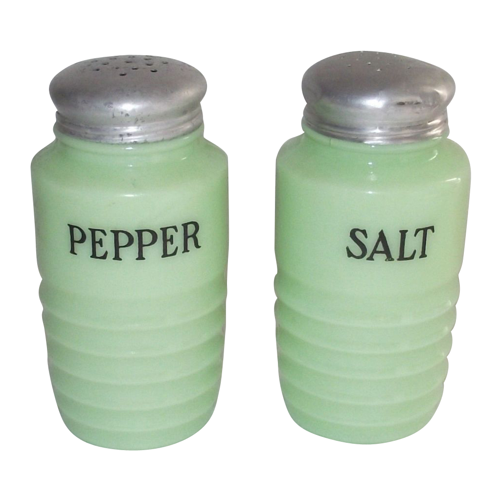 Depression Jadeite Salt and Pepper Jeannette Glass Company