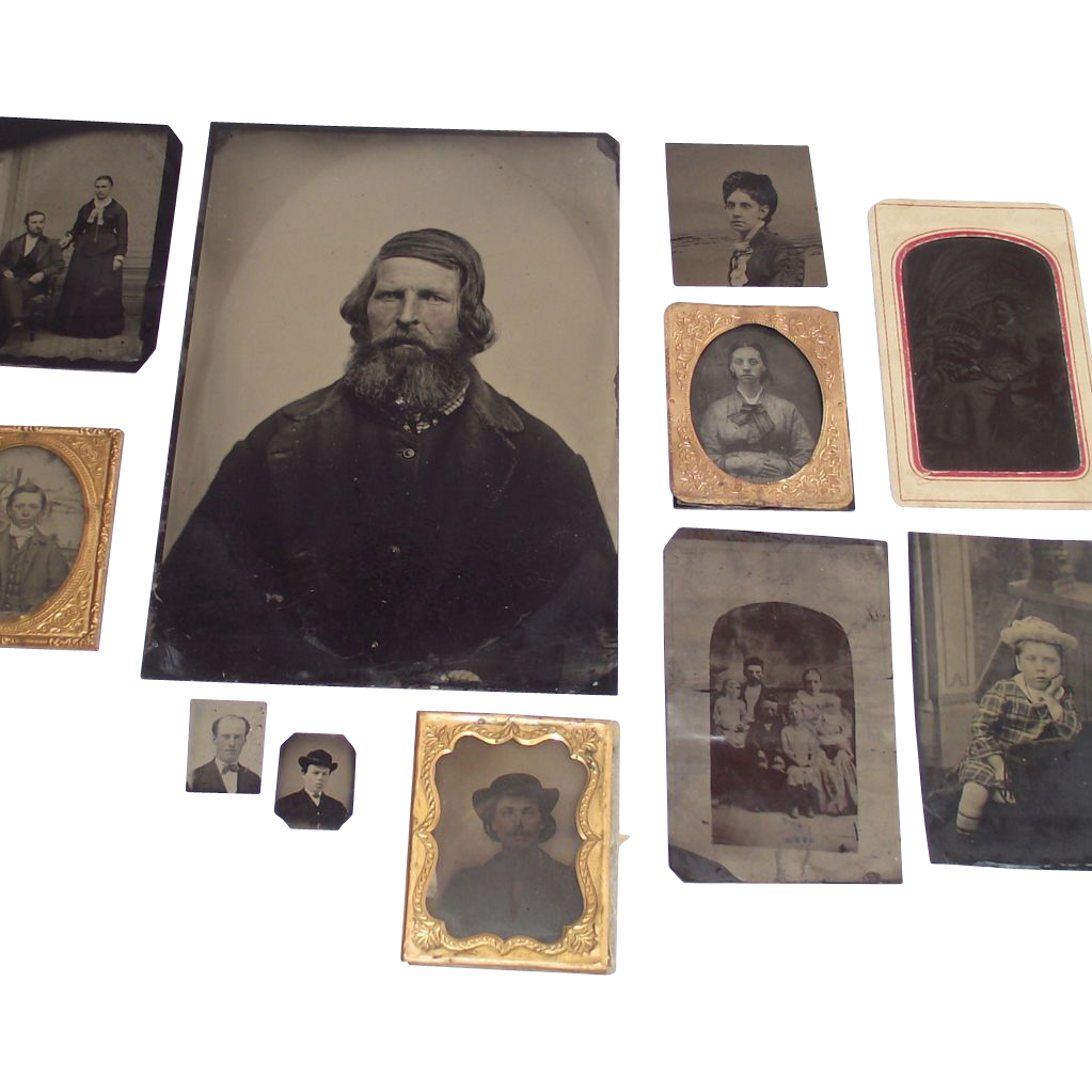11 Piece Collection Tin Types  including  Two Tiny Locket Size