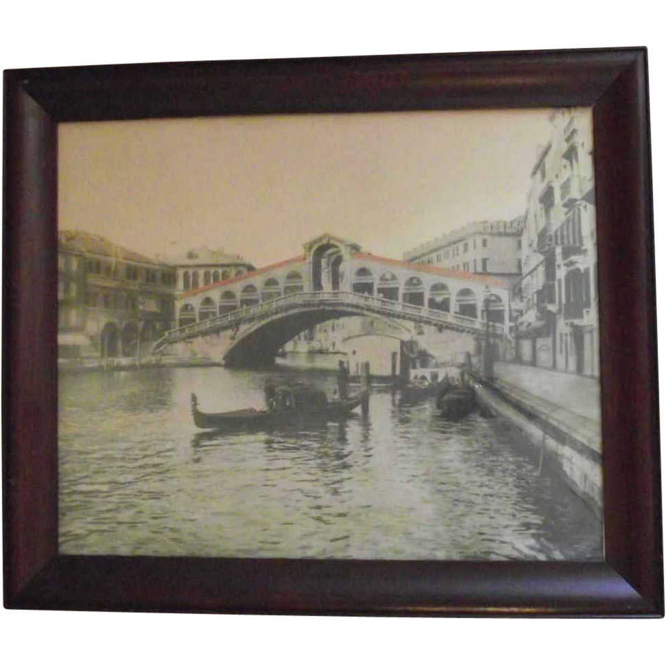C.1900 Framed Original Photograph of The Rialto Bridge and Gondoliers