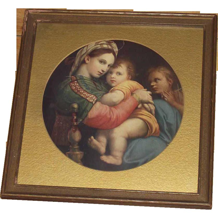 Framed Madonna Della Sedia  by: Raphael Framed Print