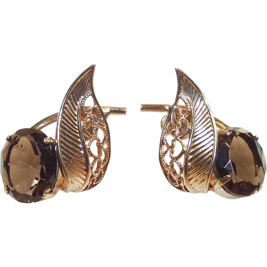 Smokey Quartz Gold Tone Pierced Earrings