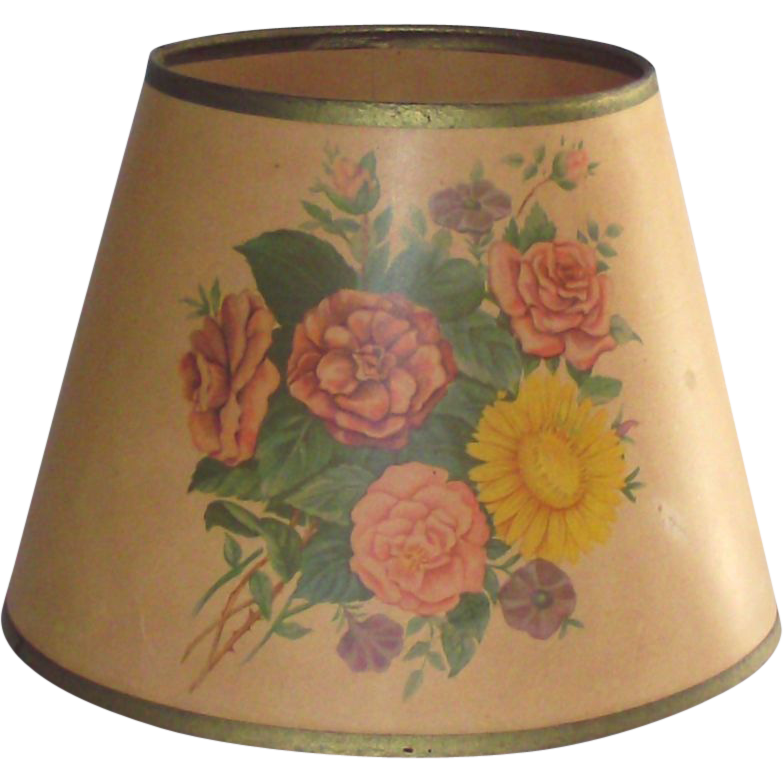 1940s parchment paper table lamp shade with flowers printed on 1940s parchment paper table lamp shade with flowers printed on paper sold ruby lane aloadofball Gallery