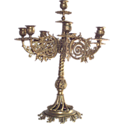 8 Arm Solid Brass Candelabra   Large and Heavy