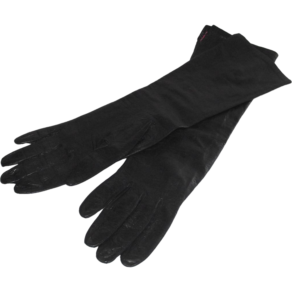 French Kid Leather Black Evening Gloves with Silk Lining