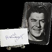 1976 Ronald Reagan Autograph and Small Reagan Tray
