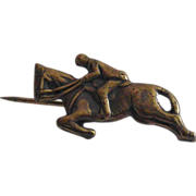 Race Horse in Stride With Rider Lapel Pin