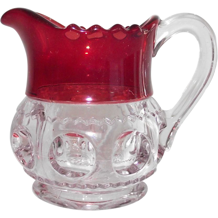 Flashed Ruby Kings Crown Individual Creamer  EAPG