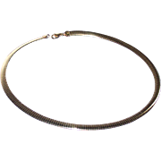 "Italian 18Kt Gold Over 925 Sterling Silver Reversible 18"" Omega Necklace"