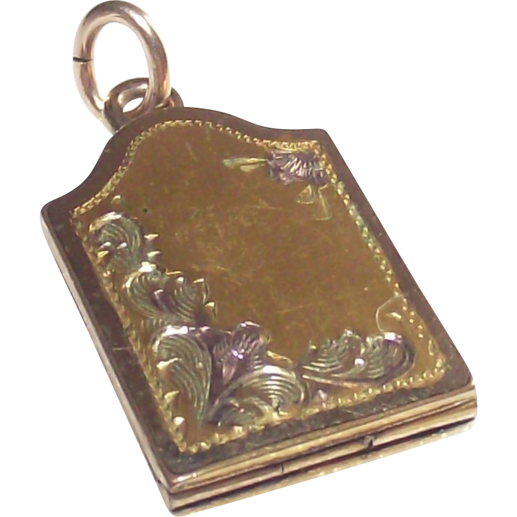 Mid Century 3 Color Gold Fill Locket  Book Style  Small