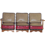 Mid Century Hand Made 3 Piece Doll Sofa