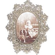 Victorian White Metal Filigree Table Picture Frame