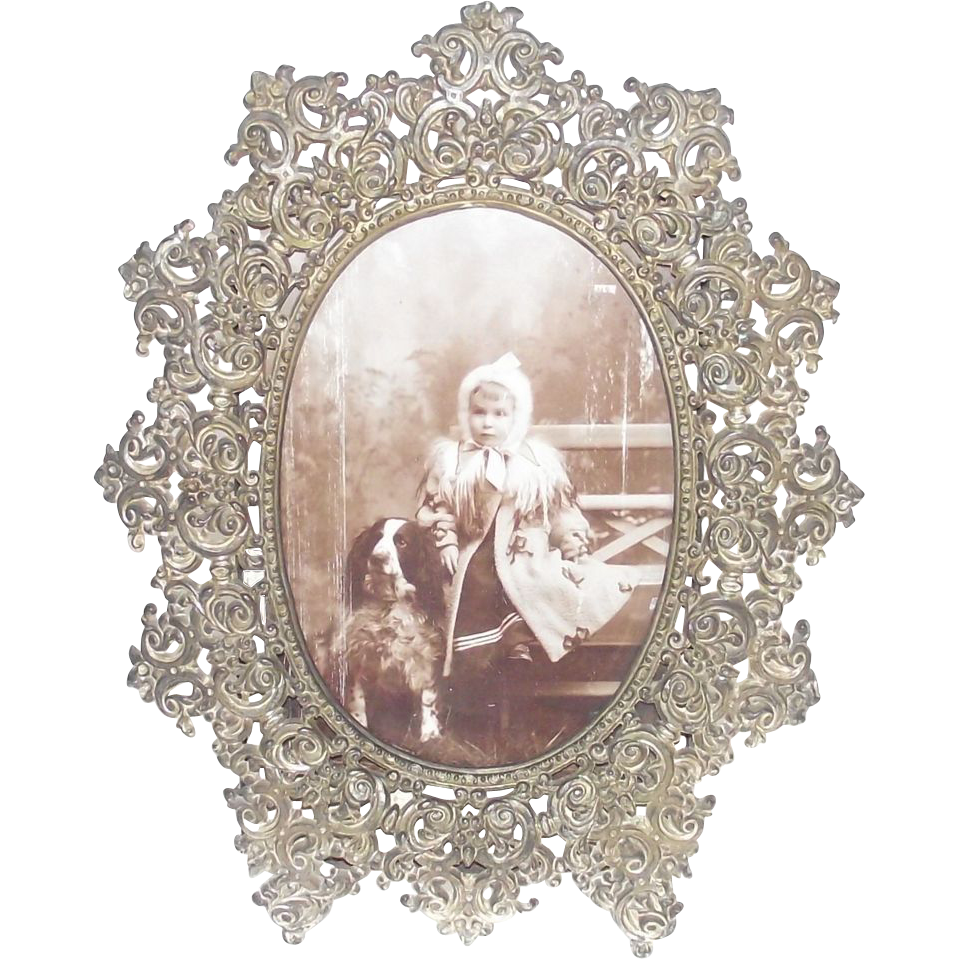 Victorian White Metal Filigree Table Picture Frame Sold On