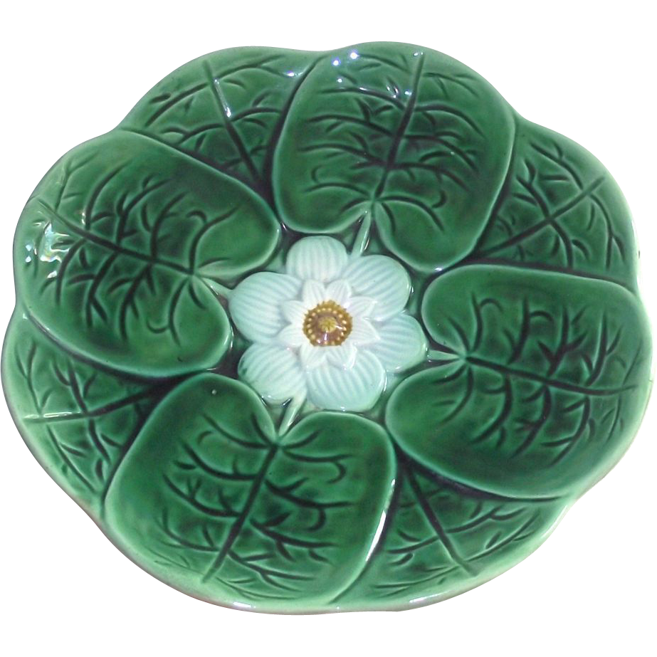 Majolica Lily Pad Pedestal Cake Stand With Herons on Legs