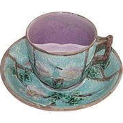 Victorian Majolica Rose and Rope Mustache Cup + Saucer