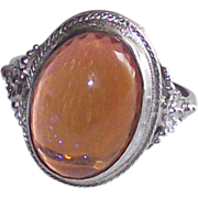 Art Deco Sterling Silver Dragons Breath Opal Ring