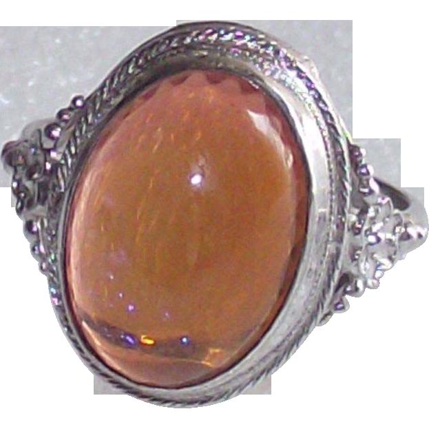 Art Deco Sterling Silver Dragons Breath Opal Ring