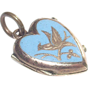 Victorian Robins Egg Blue Enamel Hair Memorial Locket with Bird