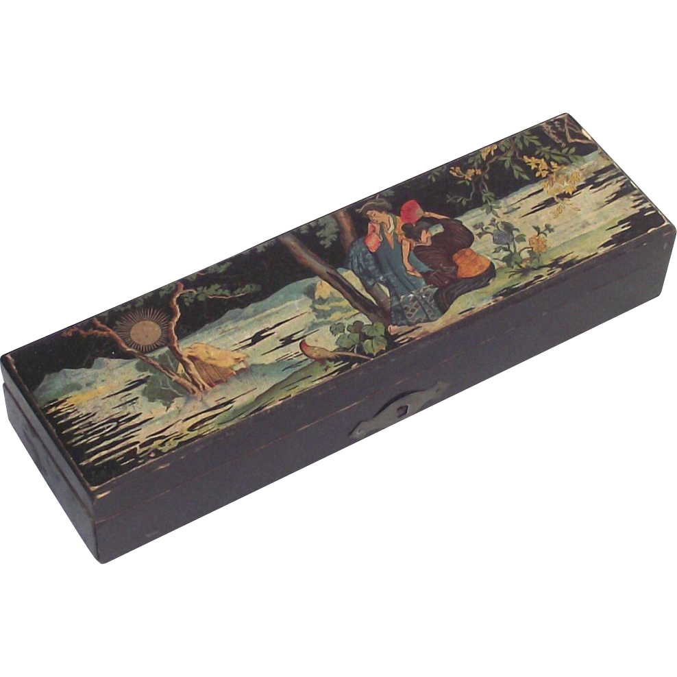 Japanese Garden Scene with Geishas Pencil Box Not Lacquered