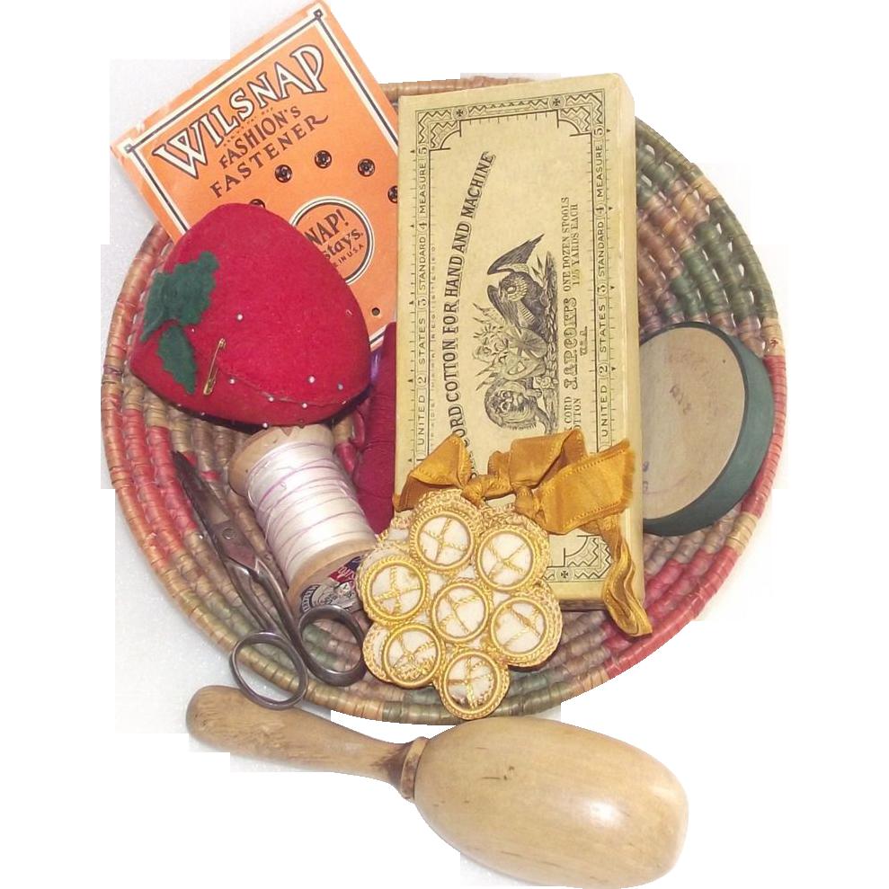 Vintage Sewing Basket Loaded with Good Stuff