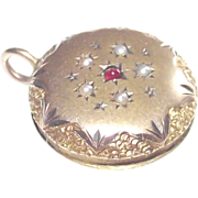 Victorian Era Round Fob with Seed Pearls and Garnet