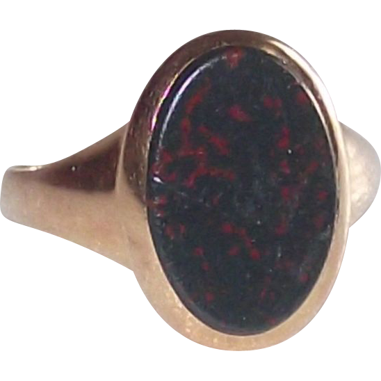 Victorian 18Kt Rose Gold  sz 9 Ring with Bloodstone Tablet