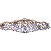 Art Deco Ceylon Sapphire & Diamond Brooch 14k White Gold