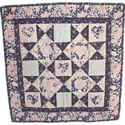 Vintage Doll Quilt Pinks and Blue Calicos with Appliqued Hearts
