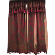 Victorian Portiere' Dark Forest Green and Burgundy with Lovely Double Fringed Ends