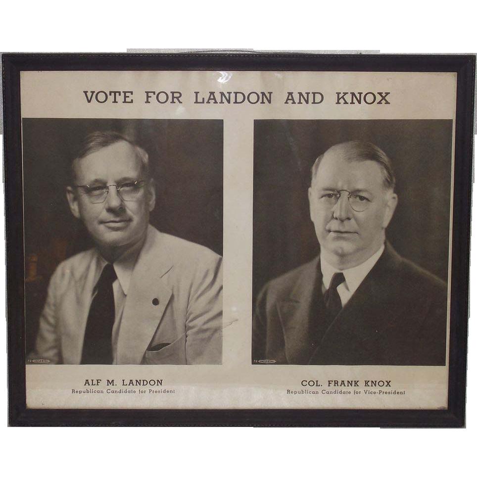 1936 Landon Knox Framed Campaign Poster