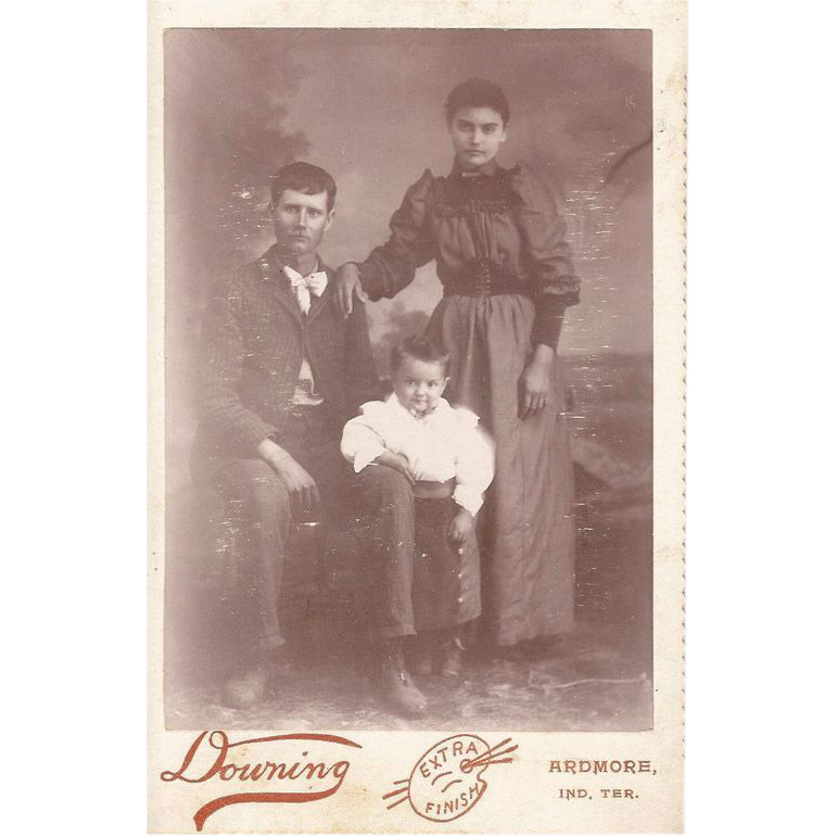 Indian Territories White Man with Indian Wife and Their Child Cabinet Card