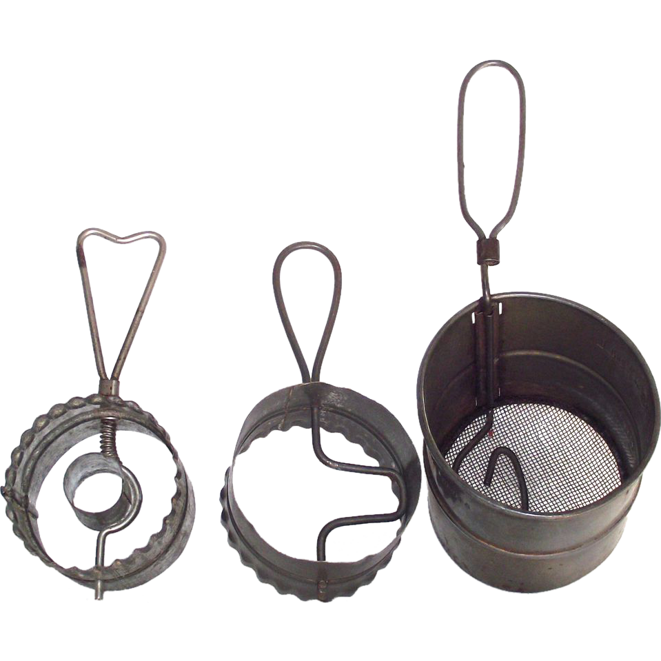 3 Early Tin Kitchen Sifter and Cutter