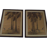 Pair Japanese Oil Paintings on Watered Moire Silk, Framed Under Glass