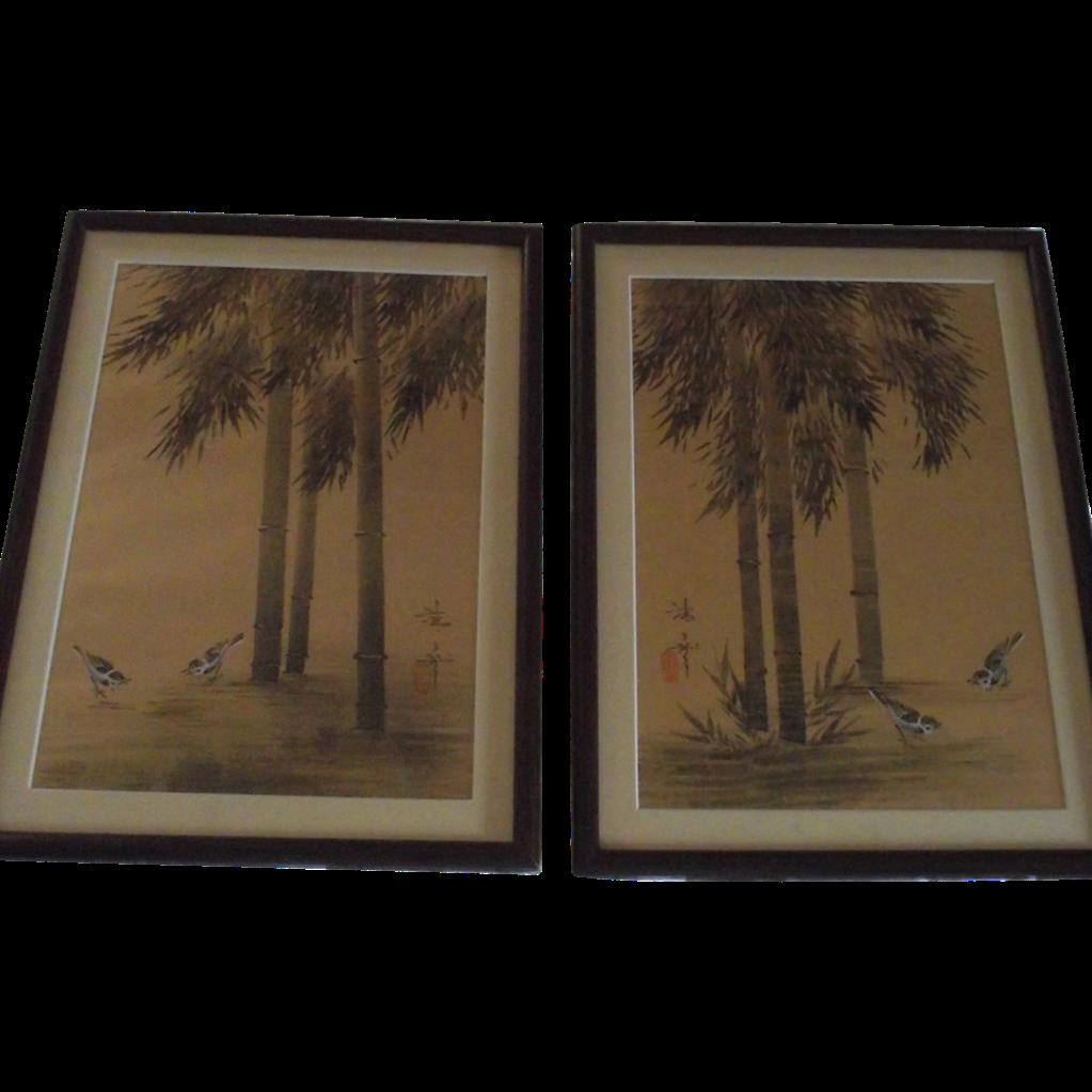 Pair Japanese Oil Paintings on Watered Moire Silk, Framed Under Glass