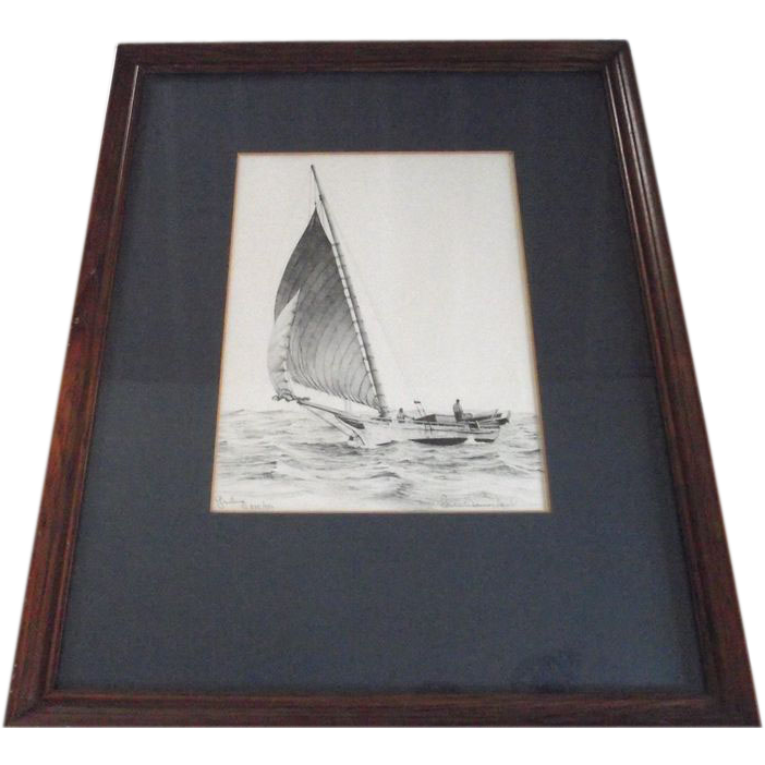 Framed Print Gusting Signed Hawks Numbered 835/980 Etching