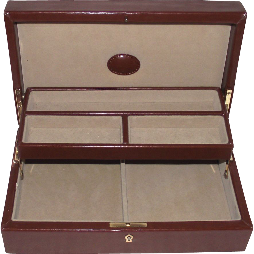 faux leather jewelry box vintage from rubylane sold on