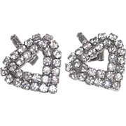 Heart Shaped Earrings White Metal Clear Rhinestones for Pierced Ears
