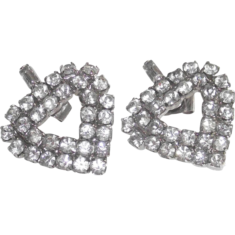 Heart Shaped Earrings White Metal Clear Rhinestones for Pierced Ears