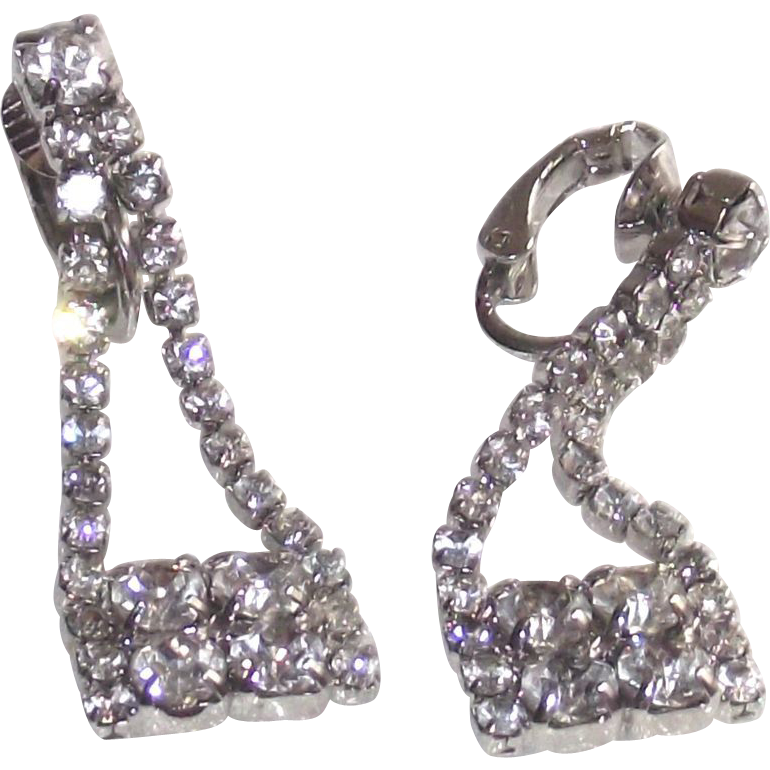 """Purse"" Shaped Earrings White Metal Clear Rhinestones Clip Style"