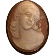 Vintage Carved Cameo Lady Pendant