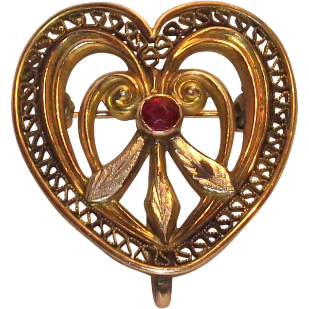 Victorian Heart Brooch – Watch Holder with Granite Center Stone