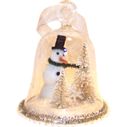 Blown Glass Bell Snowman and Bottle Brush Trees Ornament Diorama