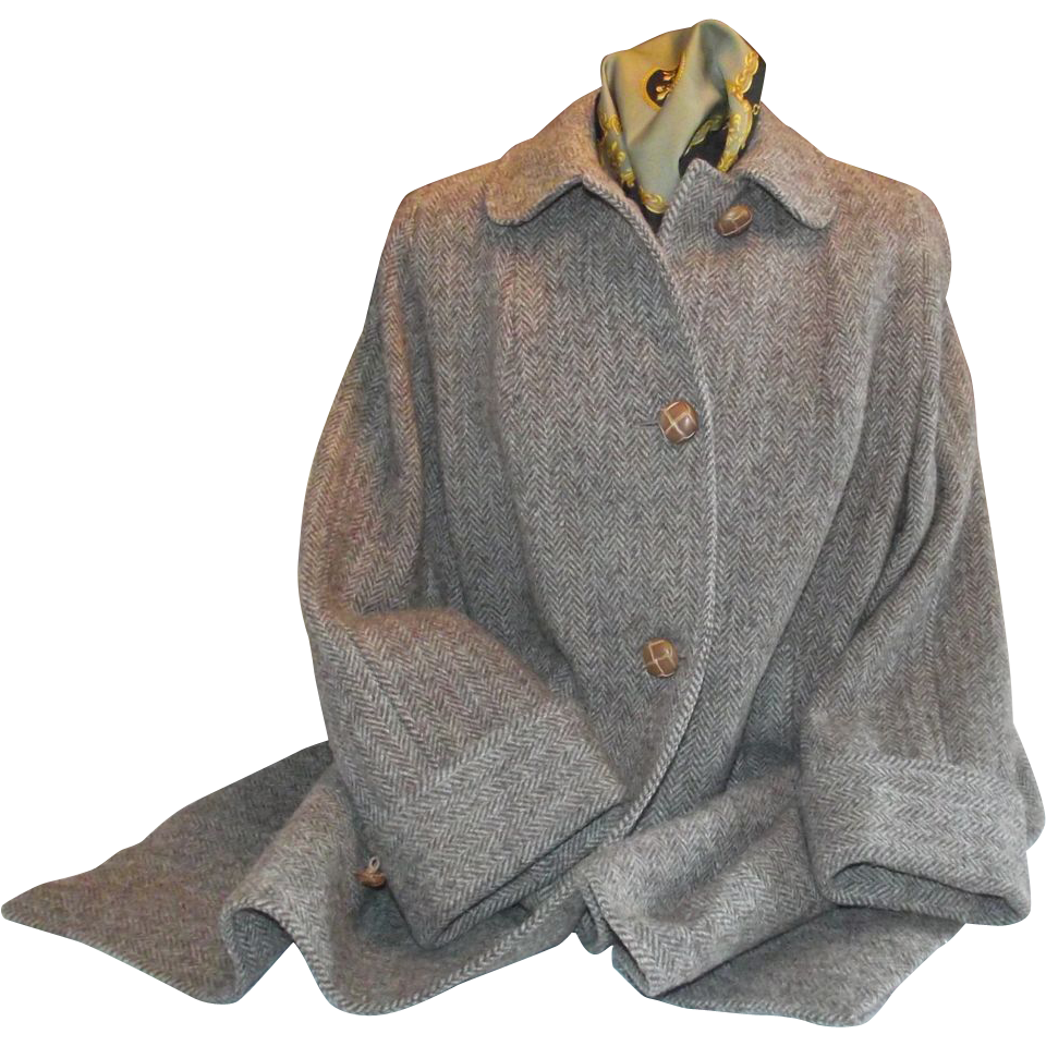 Harris Tweed Ladies Coat 1960s/70s Brown/Tan/Gray Tweed Size S