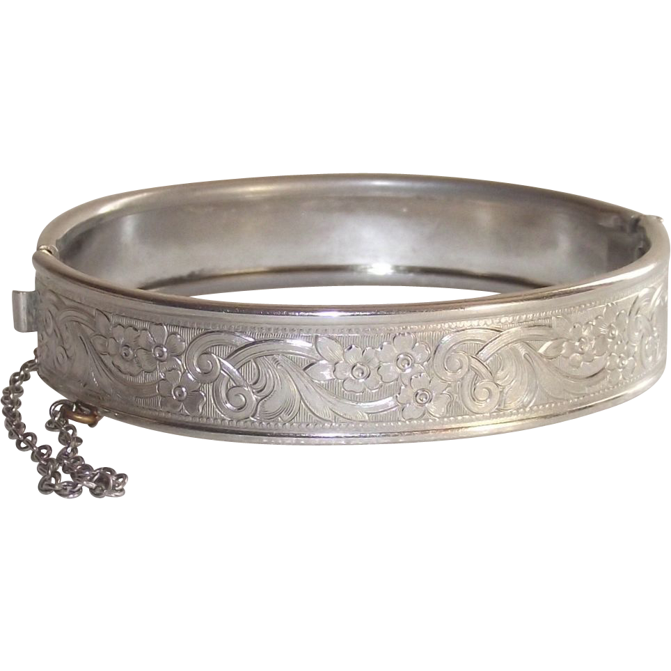 Mid Century White Metal Fully Machine Tooled Bangle Bracelet