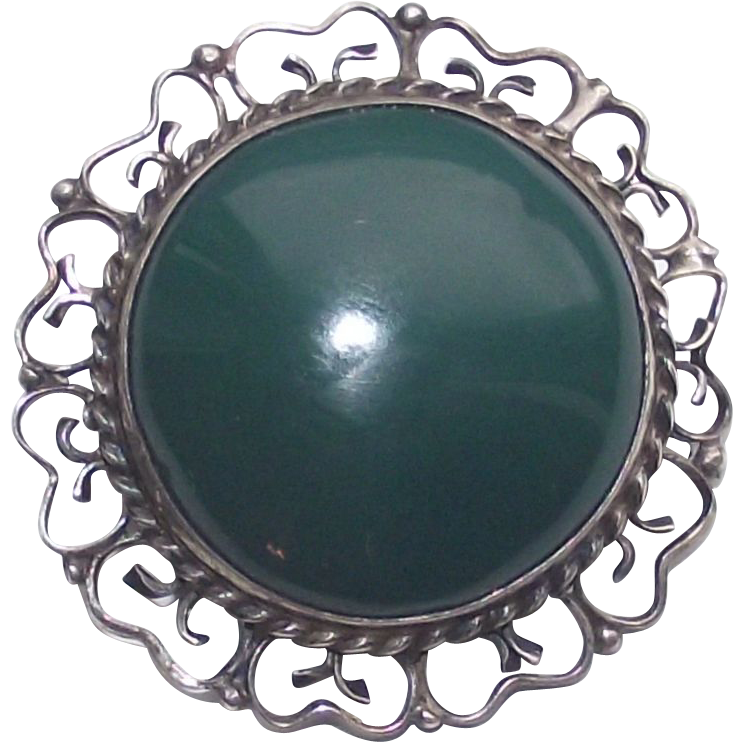 Sterling Mexican Filigree Brooch with Large Deep Aqua Green Cabochon Stone