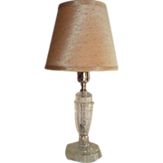 Mid Century Pressed Faceted Clear Glass Table Lamp