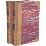Two Volumes: The Poetic Works of William Wordsworth 1871 Pub. Leather Bound and Marble Board