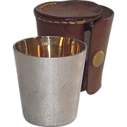 German Silver Shot Cup with Gold Wash in Leather Case